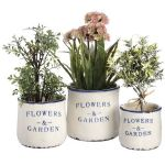 Set Three Ceramic Flowers and Garden Planters Pots